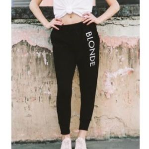 NWT Brunette the Label BLONDE Black Joggers Sweats
